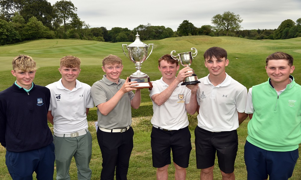 Winner Aaron Marshall (Lisburn) with Under 17 Winner Fionn Hickey (Muskerry) after his victory in the 2019 Irish Boys Amateur Open Championship at New Forest Golf Club today (28/06/2019). Also in the picture are prize winners Luke O'Neill (Connemara), Josh Black (Lisburn), Eoin Sullivan (Carton House) and Rian Carvill (Warrempoint). Picture by Pat Cashman
